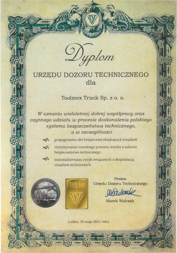 dyplom UDT dla Toolmex Truck
