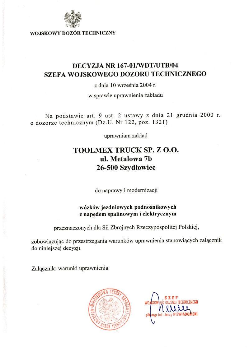 decyzja WDT dla Toolmex Truck Szydłowiec